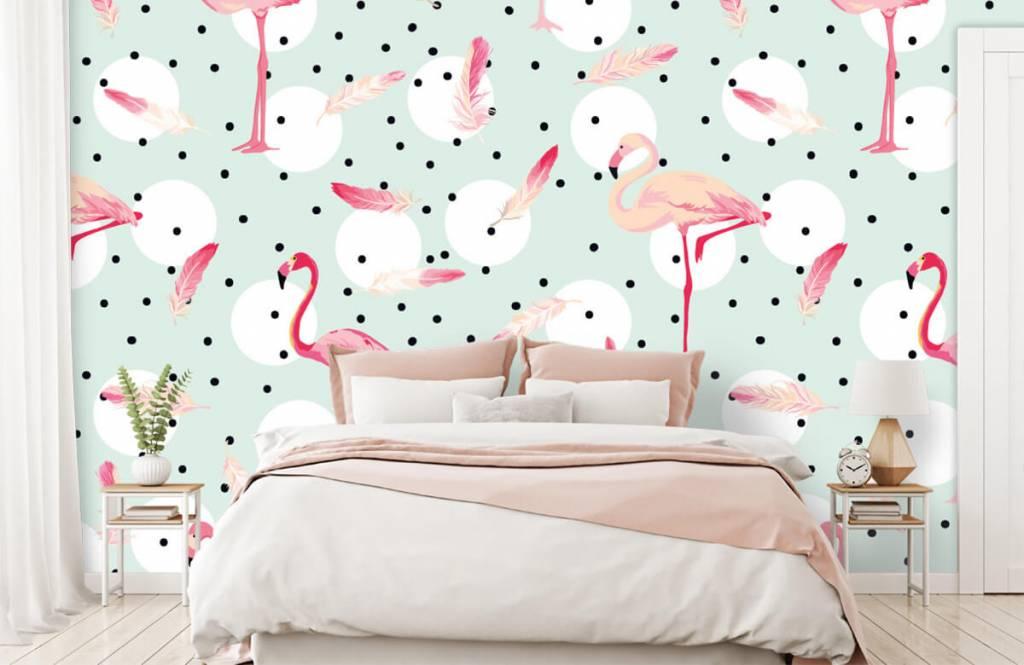 Kinderbehang - Flamingo's en veren - Kinderkamer 2