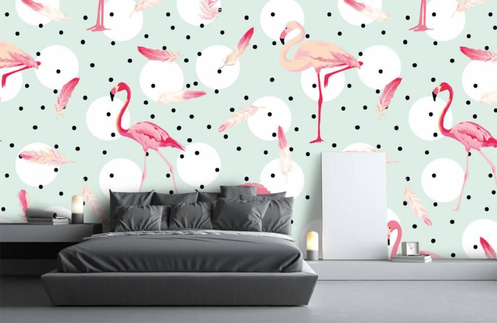Kinderbehang - Flamingo's en veren - Kinderkamer 3