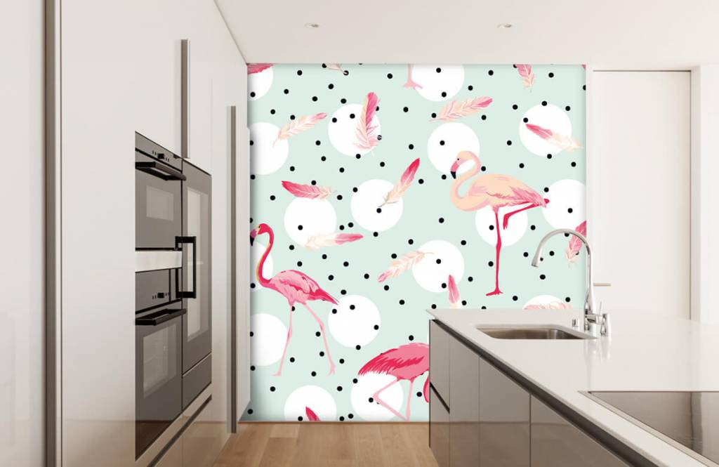 Kinderbehang - Flamingo's en veren - Kinderkamer 4