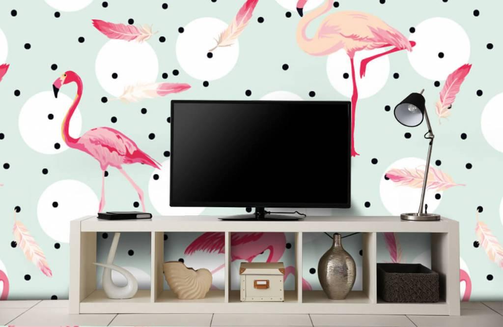 Kinderbehang - Flamingo's en veren - Kinderkamer 5