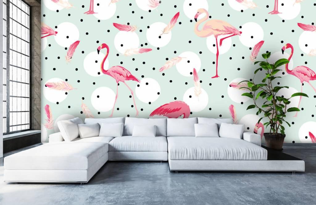 Kinderbehang - Flamingo's en veren - Kinderkamer 6