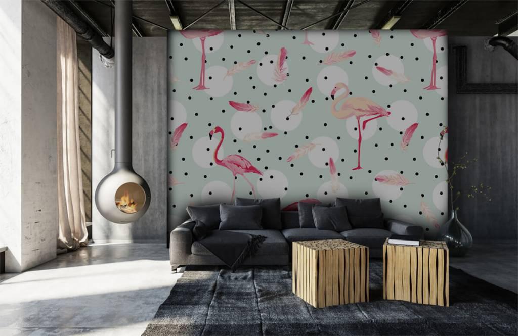 Kinderbehang - Flamingo's en veren - Kinderkamer 7