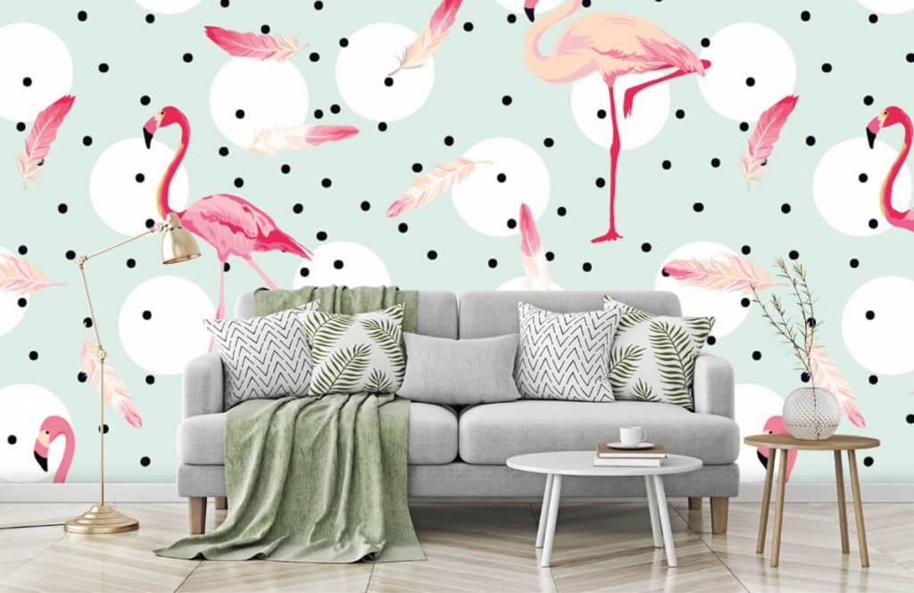 Kinderbehang - Flamingo's en veren - Kinderkamer 8