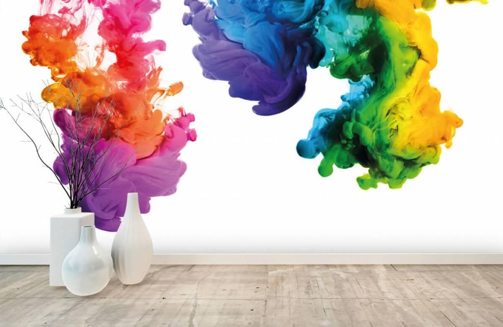 Abstract behang - Gekleurde rook - Hobbykamer 1