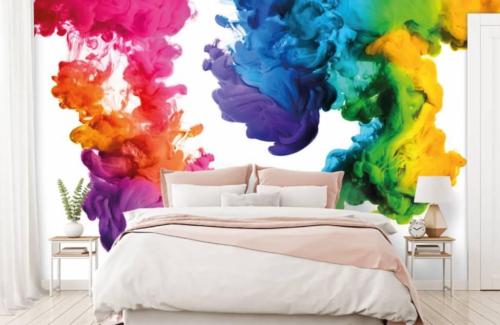 Abstract behang - Gekleurde rook - Hobbykamer 2