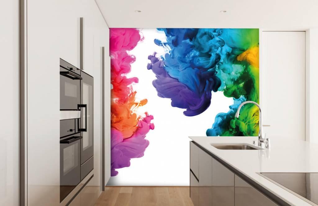 Abstract behang - Gekleurde rook - Hobbykamer 4