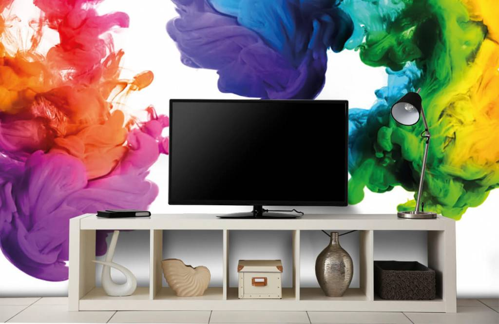 Abstract behang - Gekleurde rook - Hobbykamer 5