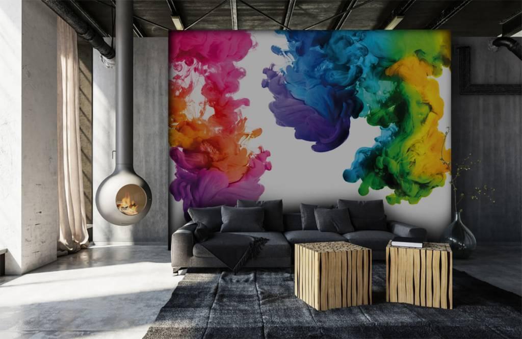 Abstract behang - Gekleurde rook - Hobbykamer 7