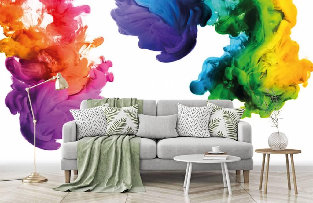 Abstract behang - Gekleurde rook - Hobbykamer 8