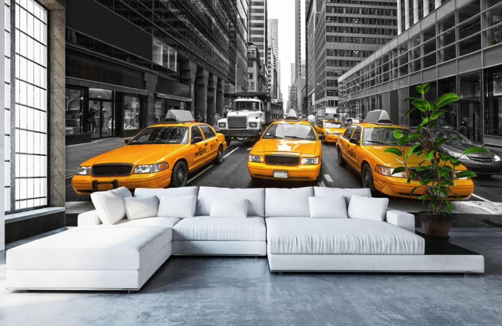 Zwart Wit behang - Gele taxi's in New York - Tienerkamer 1