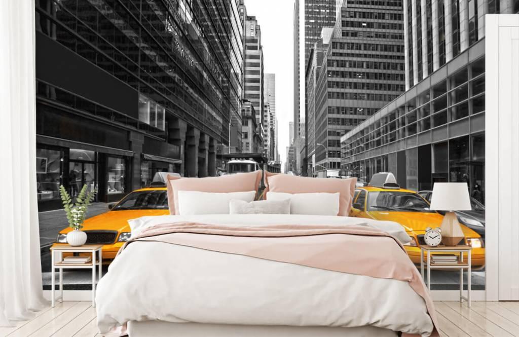 Zwart Wit behang - Gele taxi's in New York - Tienerkamer 2