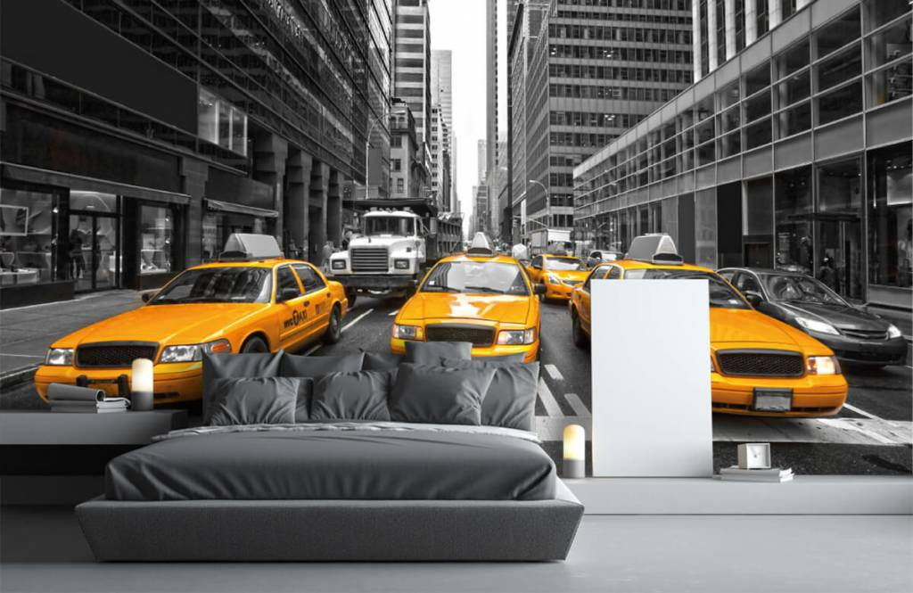 Zwart Wit behang - Gele taxi's in New York - Tienerkamer 3