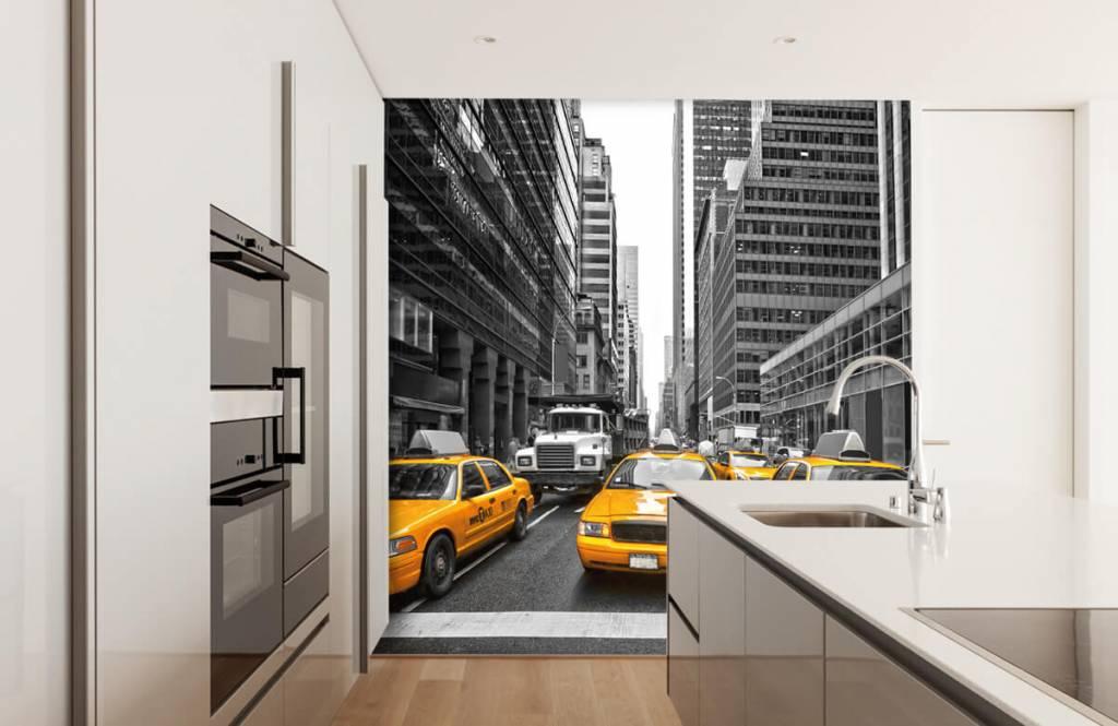 Zwart Wit behang - Gele taxi's in New York - Tienerkamer 4