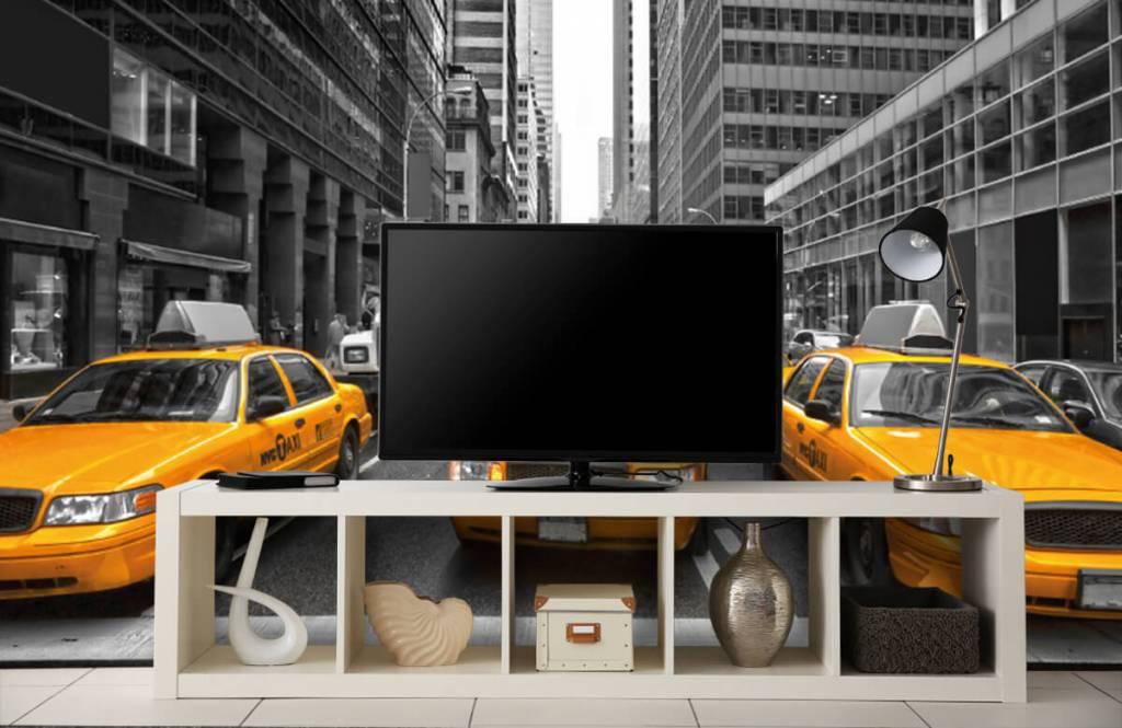 Zwart Wit behang - Gele taxi's in New York - Tienerkamer 5