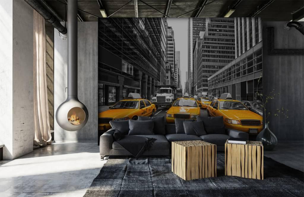 Zwart Wit behang - Gele taxi's in New York - Tienerkamer 6