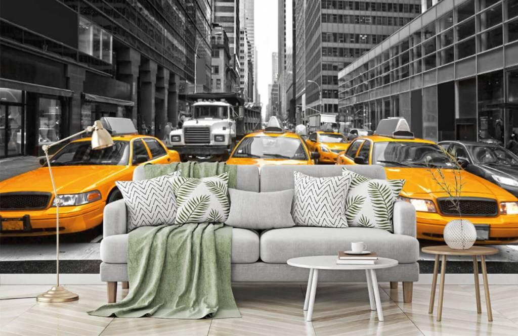 Zwart Wit behang - Gele taxi's in New York - Tienerkamer 7