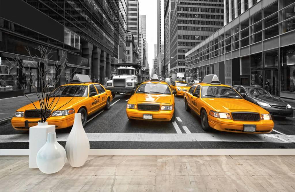 Zwart Wit behang - Gele taxi's in New York - Tienerkamer 8