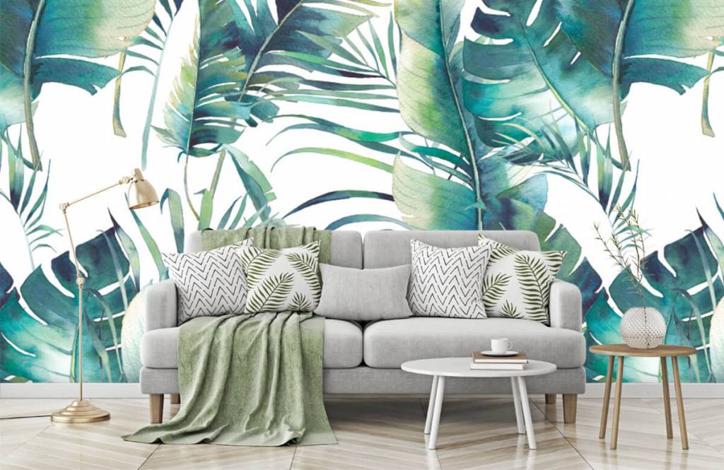 Jungle - Geschilderde palmbladeren - Woonkamer 8