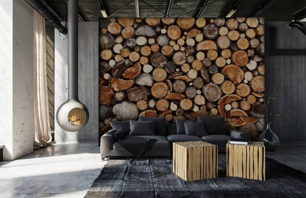 Hout behang - Gestapelde boomstammen - Woonkamer 1
