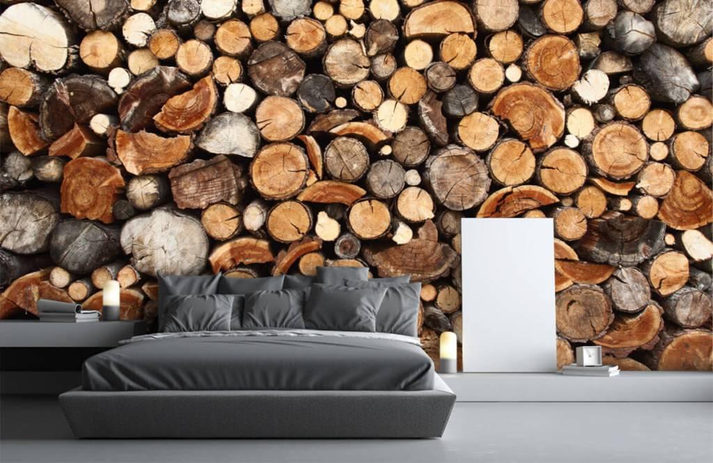 Hout behang - Gestapelde boomstammen - Woonkamer 3