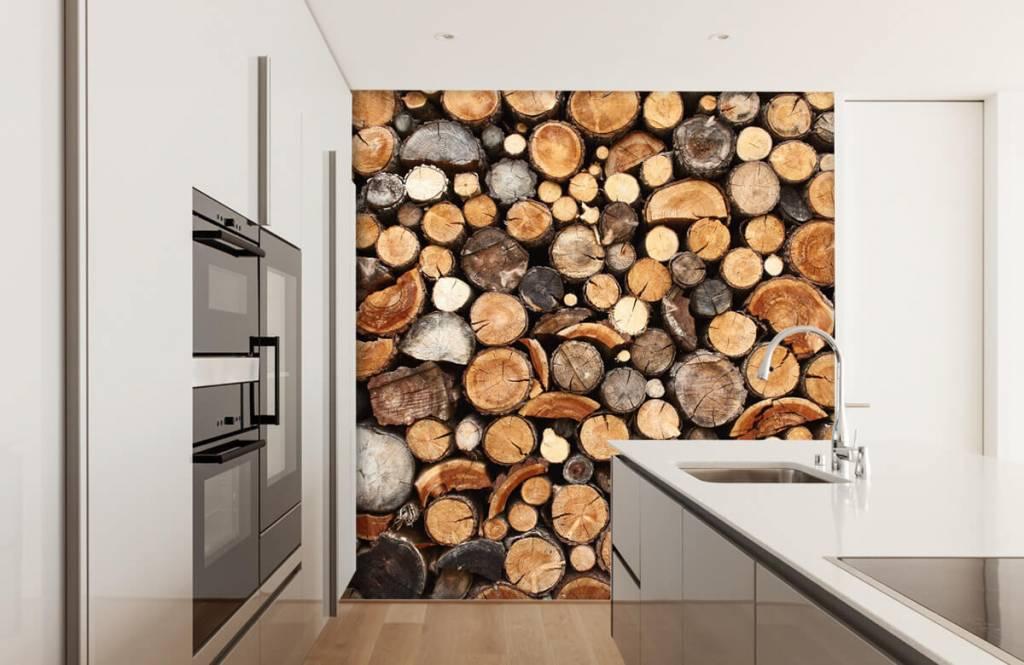 Hout behang - Gestapelde boomstammen - Woonkamer 4