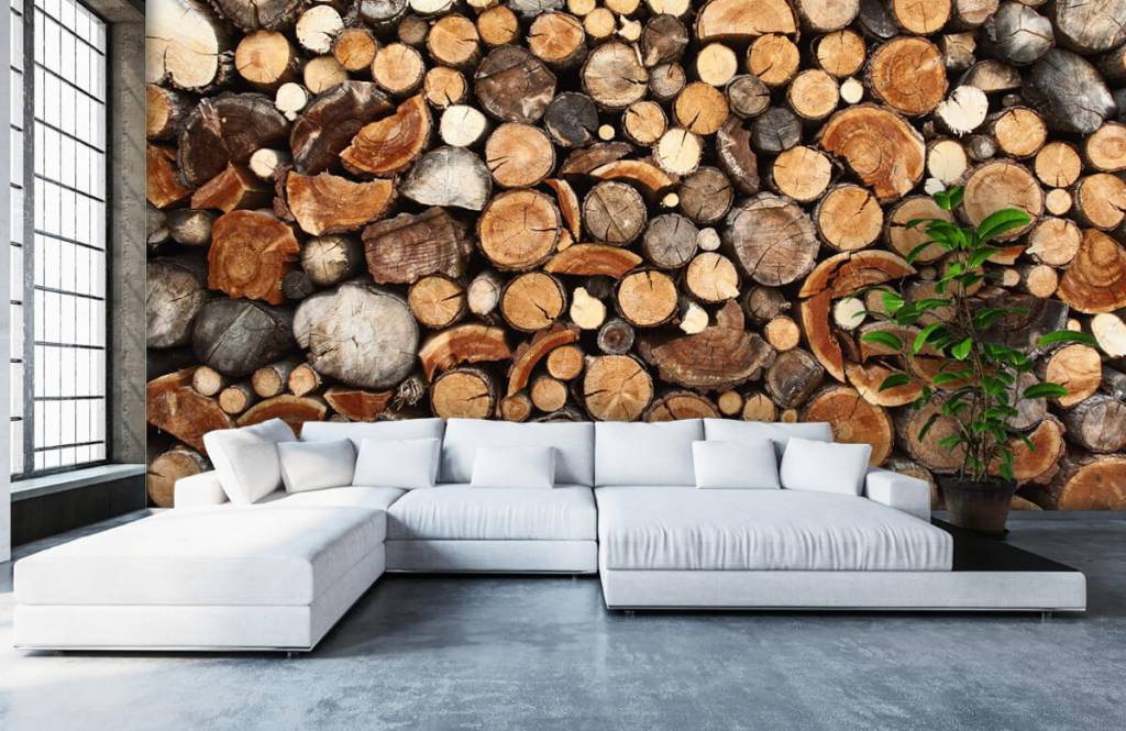 Hout behang - Gestapelde boomstammen - Woonkamer 6