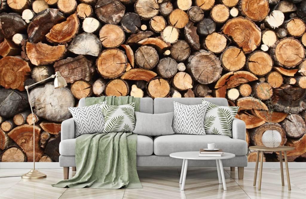 Hout behang - Gestapelde boomstammen - Woonkamer 7