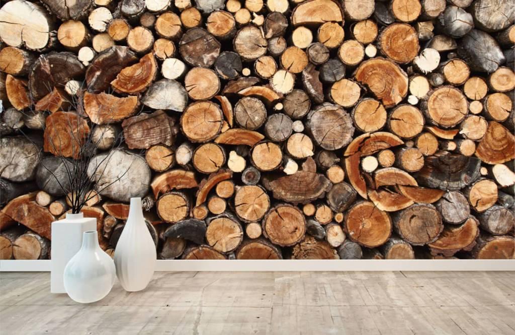 Hout behang - Gestapelde boomstammen - Woonkamer 8