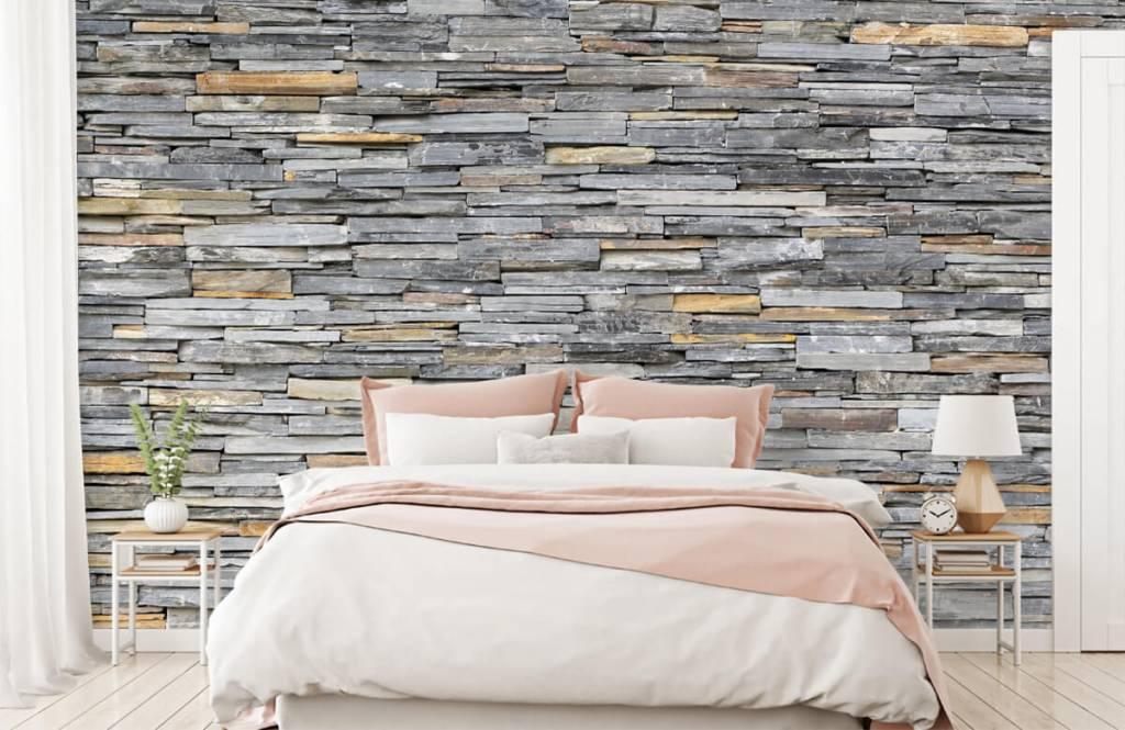 Steen behang - Gestapelde stenen - Slaapkamer 1