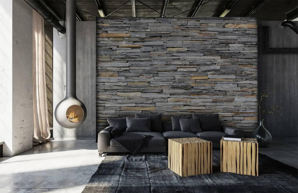 Steen behang - Gestapelde stenen - Slaapkamer 6