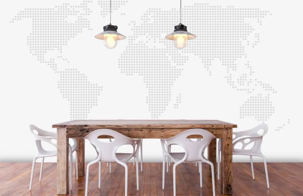 Wereldkaart behang - Gestippelde wereldkaart - Kantoor 1