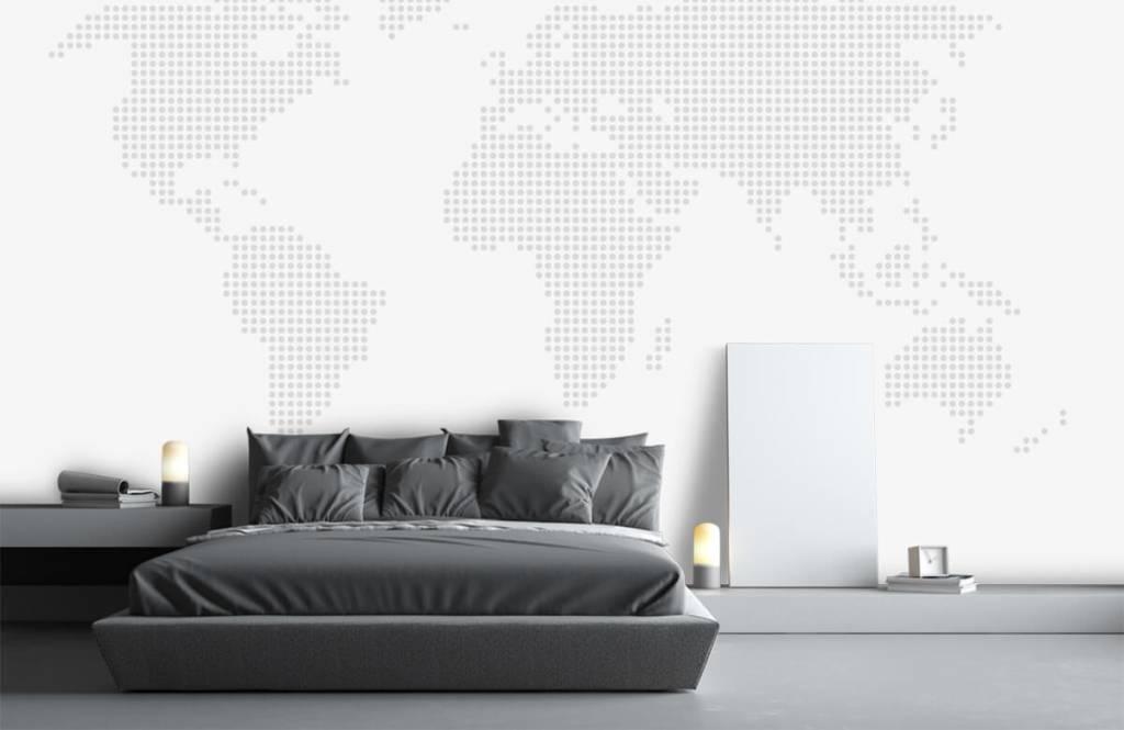 Wereldkaart behang - Gestippelde wereldkaart - Kantoor 3