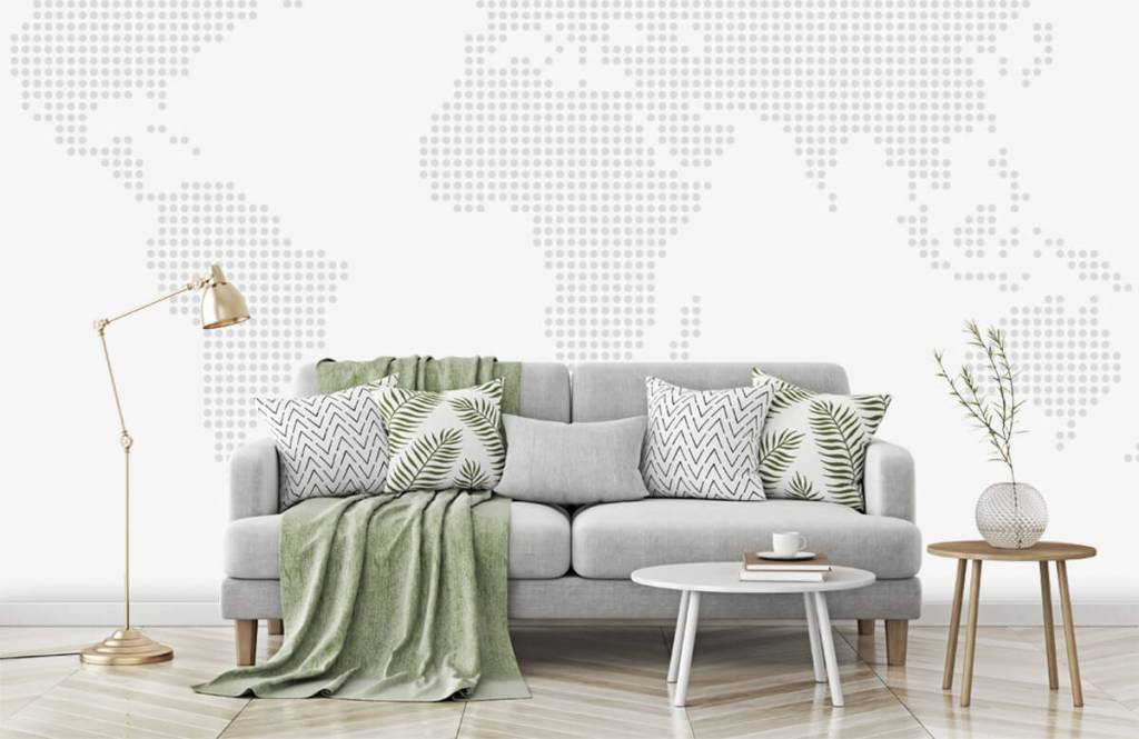 Wereldkaart behang - Gestippelde wereldkaart - Kantoor 5