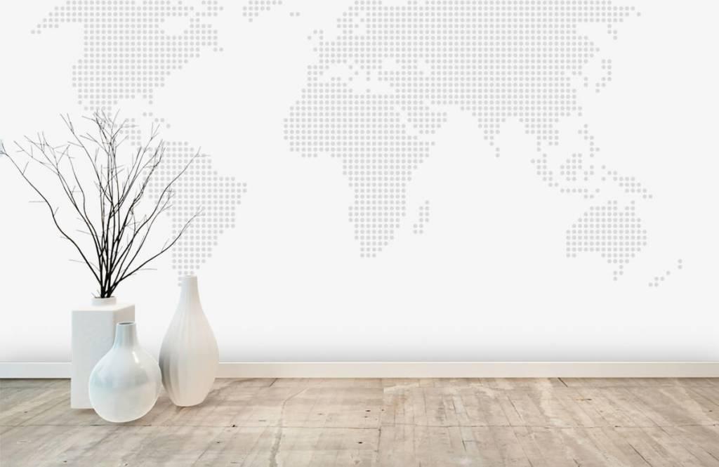 Wereldkaart behang - Gestippelde wereldkaart - Kantoor 6