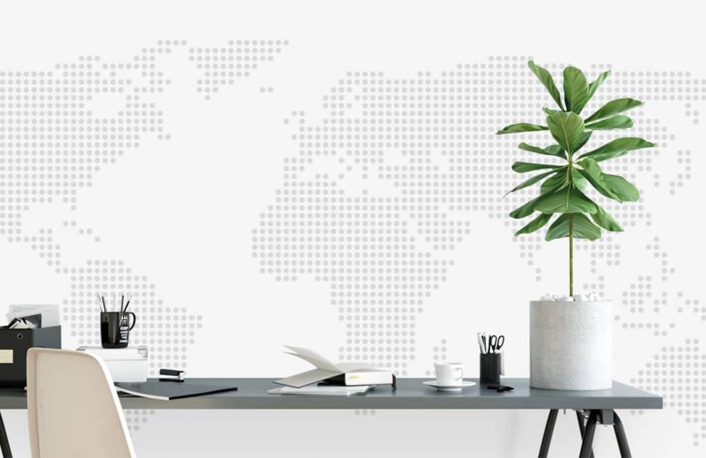 Wereldkaart behang - Gestippelde wereldkaart - Kantoor 7