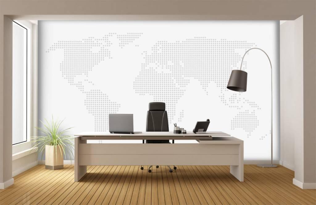 Wereldkaart behang - Gestippelde wereldkaart - Kantoor 9