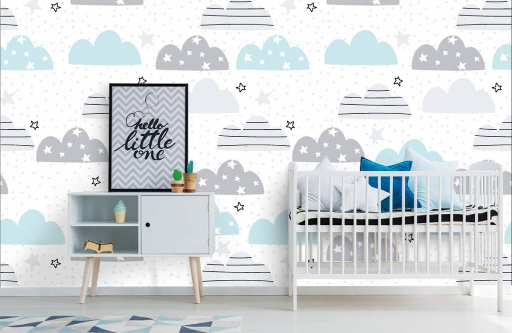 Baby behang - Getekende wolkjes - Babykamer 1