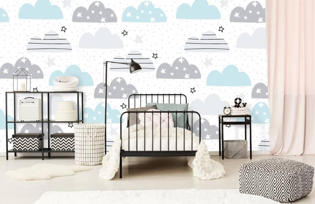 Baby behang - Getekende wolkjes - Babykamer 2