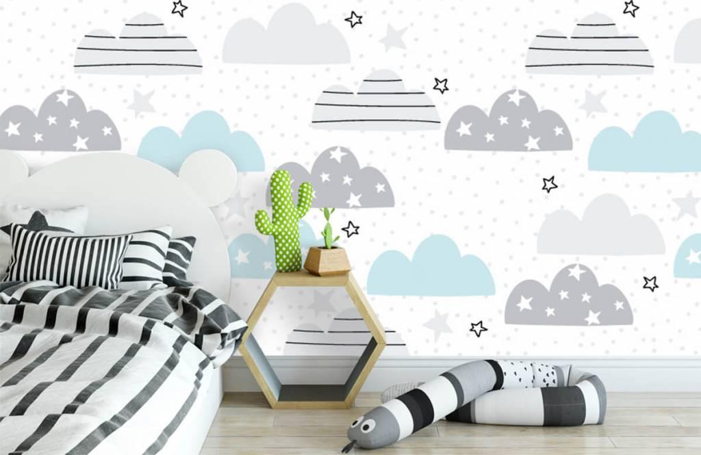 Baby behang - Getekende wolkjes - Babykamer 3
