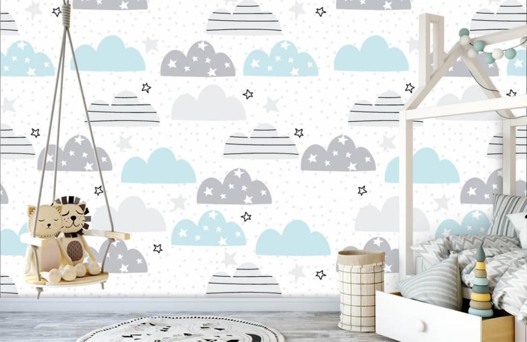 Baby behang - Getekende wolkjes - Babykamer 4