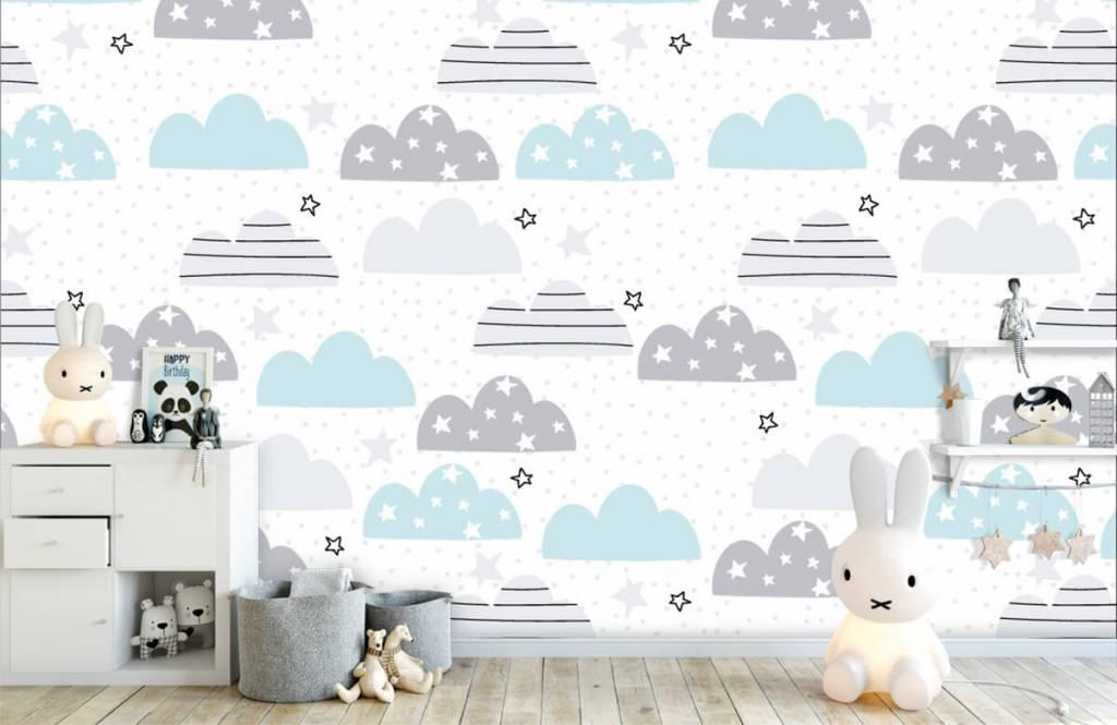 Baby behang - Getekende wolkjes - Babykamer 5