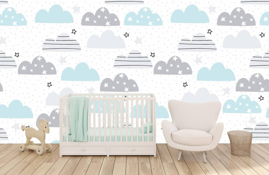 Baby behang - Getekende wolkjes - Babykamer 6