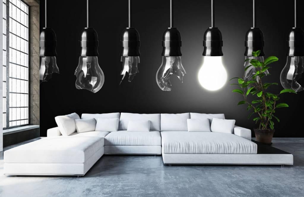 Zwart Wit behang - Gloeilampen - Kantoor 1
