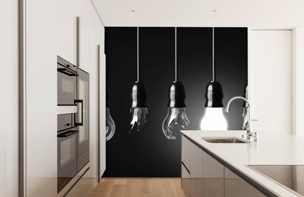 Zwart Wit behang - Gloeilampen - Kantoor 4