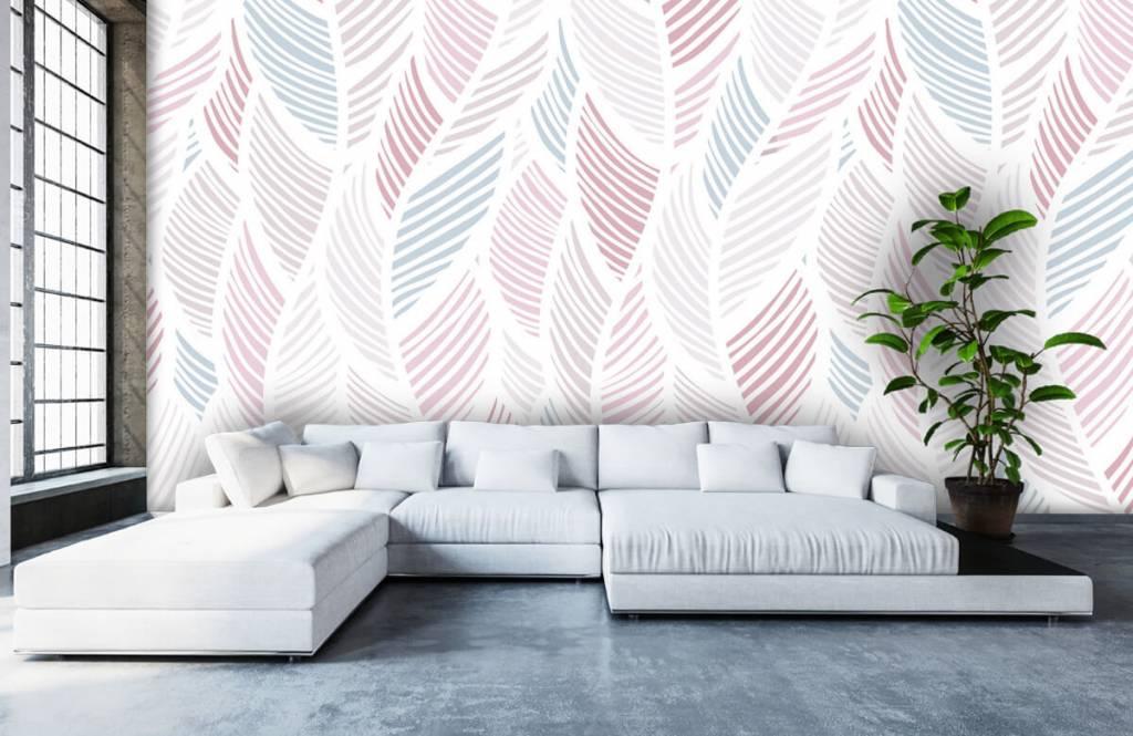 Pastel Groen Behang.Behang Met Grafische Veren Fotobehang