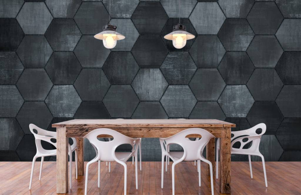 Steen behang - Grijze stenen zeshoeken - Magazijn 1