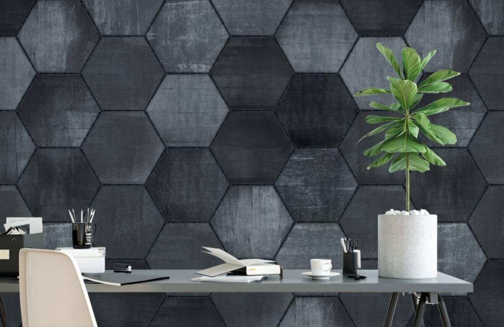 Steen behang - Grijze stenen zeshoeken - Magazijn 2