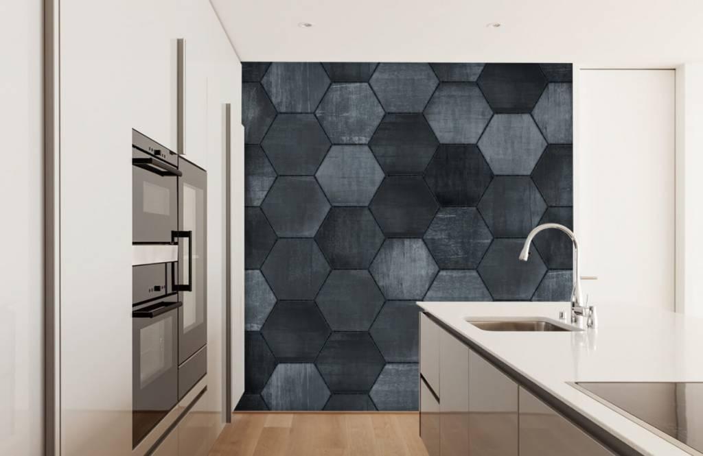 Steen behang - Grijze stenen zeshoeken - Magazijn 4