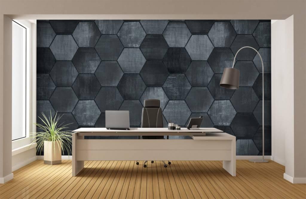 Steen behang - Grijze stenen zeshoeken - Magazijn 5