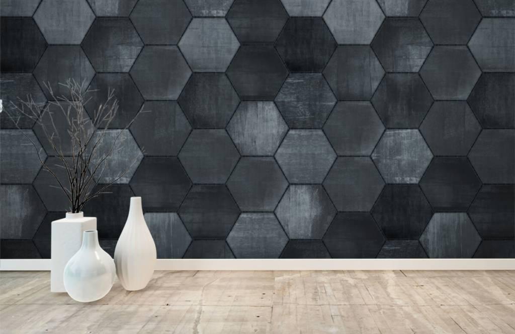 Steen behang - Grijze stenen zeshoeken - Magazijn 6